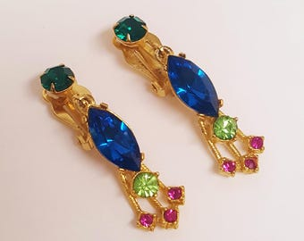 Free Ship*Vintage Glass/Rhinestone Gold Tone  Clip On Dangle Drop Earrings; Peridot  Green Blue/Retro Costume Jewelry & Accessories