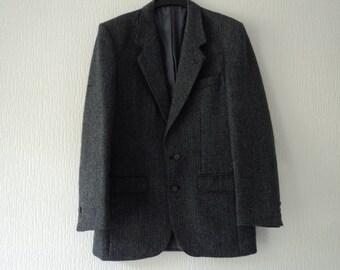 REDUCED - French vintage men's herringbone jacket  S/M (03285)