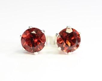 Mozambique garnet earrings;Gemstone earrings;Garnet;Stud earrings,Red earrings;January;Birthstone;Sterling silver earrings,Post earrings
