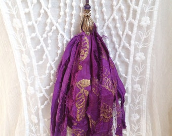 purple sari silk tassel necklace Czech glass  shabby chic festival jewelry purple tassel statement necklace boho glam