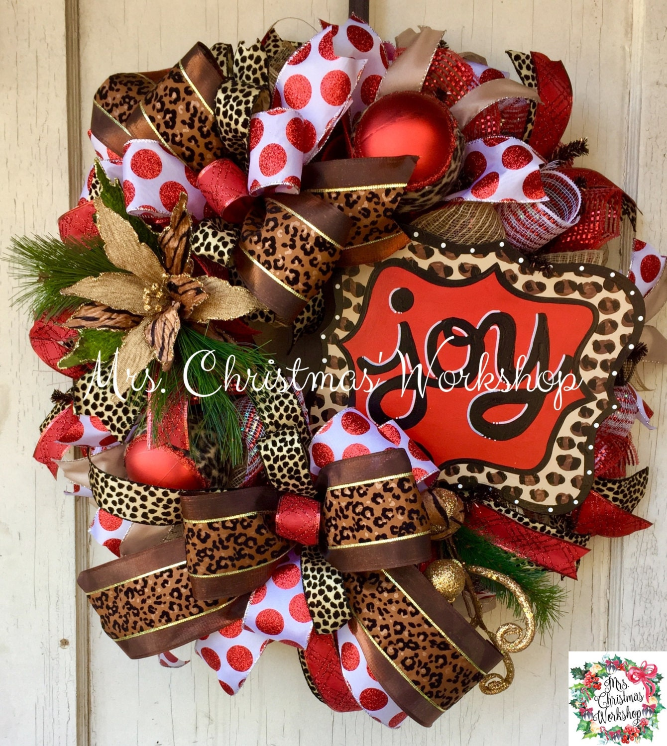 christmas wreath leopard print wreath deco mesh wreath red. Black Bedroom Furniture Sets. Home Design Ideas
