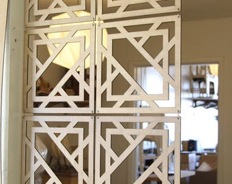 Decorative Wood Screen Kit in Walnut/Birch (14 Panel), Hanging Room Divider, Home Decoration, Interior Decor