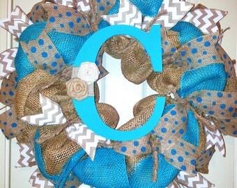 Monogram wreath, burlap wreath, beach wreath, monogram beach wreath, turquoise wreath, initial wreath, chevron wreath, personalized wreath