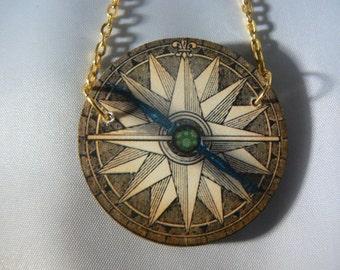 compass map  necklace  devine kitsh tatty woodcut lasercut retro
