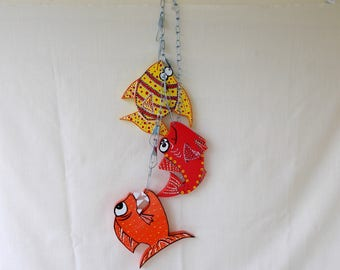 Nautical Decor, Fish On A Stringer, Hand Crafted, Nautical Nursery Decor, Wall Hanging