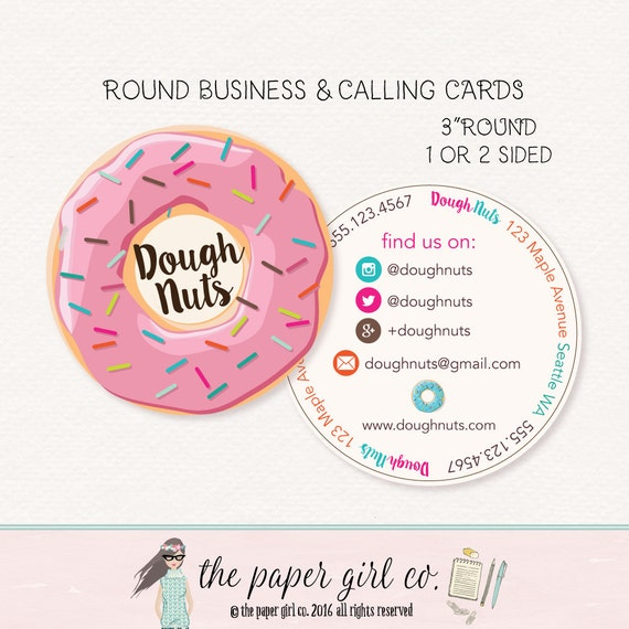 doughnut business card round business cards bakery round