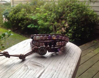 Multi Gemstone Triple Wrap Leather Bracelet, Ruby Quartz and Puple Line Agate Bracelet, Boho Bracelet, Hippie Bracelet