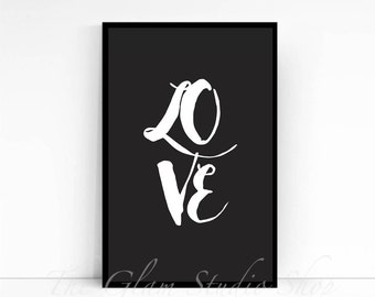 Love printable art Digital Download home decor motivational print wall art black and white Love print Gift idea written love printable