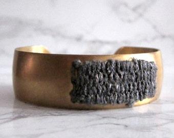 Brass Cuff Bracelet - woven tapestry - fabric bracelet // GREY LINEN CUFF // textile bracelet - modern cuff bracelet - boho bracelet
