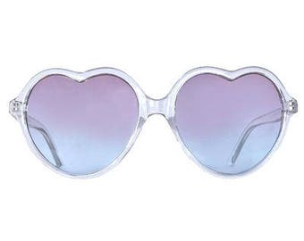 80s deadstock Clear Heart Frame colored gradient lens sunglasses - Purple, Pink, Green
