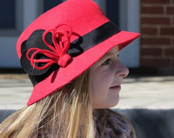 New Classic Girl's Red 50cm Wool Felt Hat