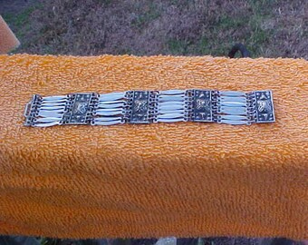 "Heavy wide mexico sterling bracelet-7 1/4"" long"