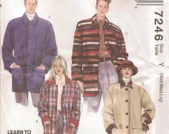 Vintage McCalls Sewing Pattern 7246 Misses Mens Lined or Unlined Boxy Jacket Size Sml-Lge Uncut