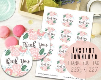 """2.25""""x 2.25"""" Floral Wreath Round Printable Thank You Tags - Printable Favor Tags - Baby Shower - Birthday Party - Baptism - Instant Download"""