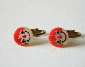 Small Round Raggedy Ann Clip Earrings
