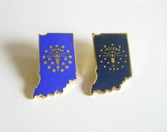 Indiana Flag Dark Blue & Royal Blue Enamel Tack Pin