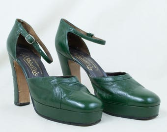 Vintage 70s Italian Leather Dark Green Disco Platforms Shoes