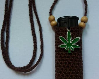 Ganja's spirit, handmade crochet lightercozy. BROWN.
