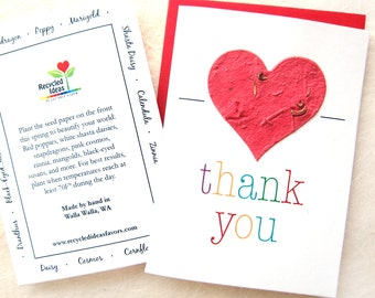 Plantable Thank You Card - Flower Seed Paper Card Big Red Heart - Rainbow Love Letters