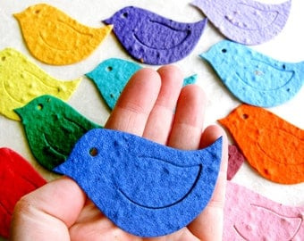 20+ Seed Bird Wedding Favors - Plantable Flower Seed Paper Love Birds Bridal Shower Favor - Royal Blue Light Blue and More with Pots Option