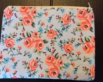 Pink and Light Blue Flower Zipper Pouch