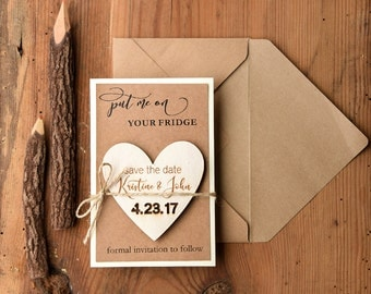 Save the date magnet Rustic (20), Fully assmebled Save the date, Engraved  Save the date Magnets, Wooden Heart Magnet, Rustic Wedding Magnet