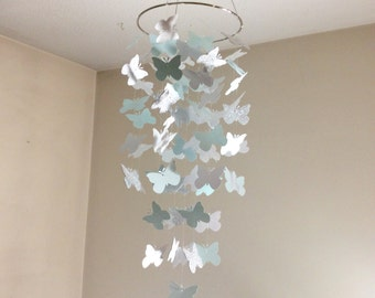 Butterfly Nursery mobile, Fluttering Butterfly paper mobile. Silver glitter, white sparkle and aqua mobile,  choose your colors