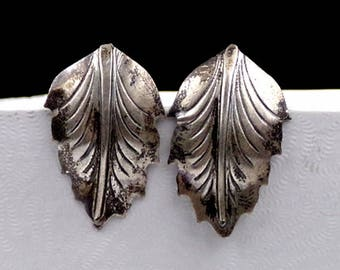 Old Nye Sterling Silver Leaf Pin Brooch and Sterling Silver Leaf Earrings Lot Group Set Collection