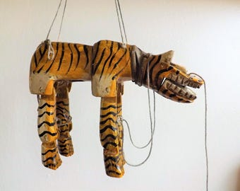 RESERVED** Beautiful Vintage Hand Carved Wood Wooden Tiger Marionette Puppet