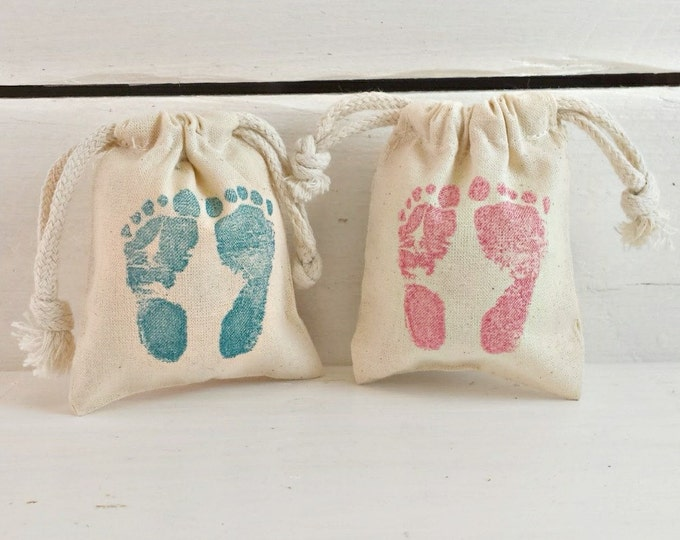 Baby Feet Stamped Favor Bags, Pink Baby Feet Favor Bag, Blue Baby Feet Favor Bag, Its A Girl Favor Bag, Its A Boy Favor Bag, Baby Shower Bag