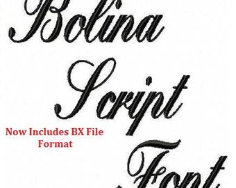 Machine Embroidery Design - Bolina Script Font - SIX Sizes + BX Format -Instant Download