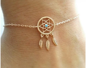 Bracelet catches dreams gold-plated 750-gold plated Bracelet 750/000 dreamcatcher, catcher dreams - 18 k gold plated bracelet Dreamcatcher