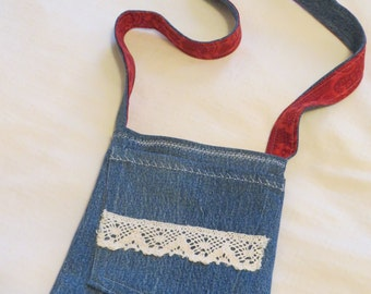 Pocket Bags, Recycled Denim Bags, Small and Versatile, Fully Lined, Original, Lace Trim, Handstitched