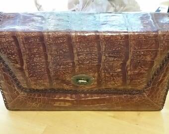 Vintage Authentic Large Hand Bag Purse - Brown - Genuine Alligator Leather - Vintage