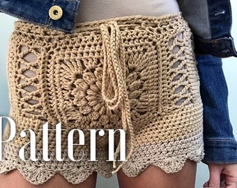 High-waisted shorts PATTERN , Crochet shorts, Swimsuit cover up pattern, Crochet shorts pattern, Crochet cover up pattern, Bikini cover up