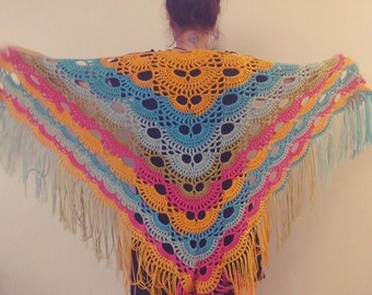 Crochet Ombre Shawl with Fringe