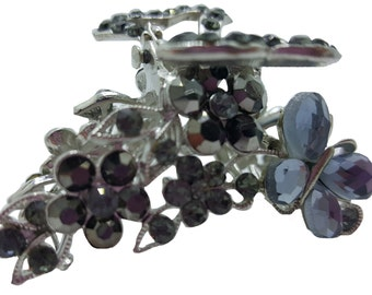 New Light Grey Crystal & Smoke  Rhinestone Floral With Butterfly  2''  Hair Claw Clip