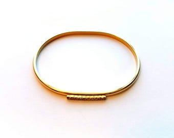 Vintage Gold with Rhinestones Thin Cuff Bracelet