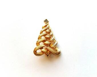 Vintage Avon Gold Christmas Tree with Rhinestone Pin, Brooch