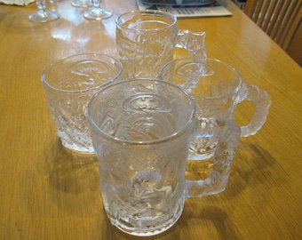 Vintage, McDonald's Batman Forever, Complete Set of 4, Clear Glass Mugs, Batman, Robin, The Riddler, & Two Face. 1995