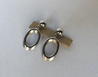 Vintage Signed Crown Trafari Silver Tone Clip On Earrings - Open Oval - Brushed Silver Tone - Shiny Silver Tone