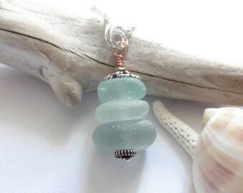 Scottish Sea Glass Cairn Necklace - Sea Glass from Scotland - Aqua - Sterling Silver - Copper