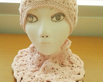 Crochet Open Work Beanie and Scarf Set