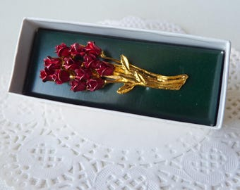 MINT Bunch of Red Roses Vintage Floral Flower Retro Jewelry, Bouquet Brooch, Rose Broch, Costume 70's, Retro Jewelry,Vintage Red Flower Pin
