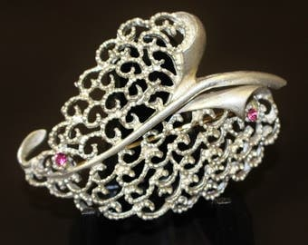 Vintage Brooch Pin Pewter Look Large Curved Leaf Scroll Lace Filigree Voids Design Two Miniature Fuschia Rhinestones Matt Silver Tone