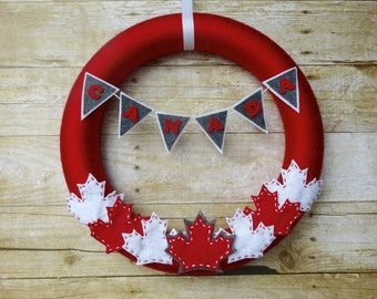 Canada Day Felt Wreath, Felt Wreath, Canadian Wreath, Canada Wreath
