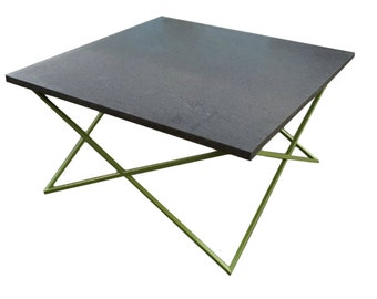 Square Granite Coffee Table with Green Steel Base