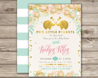 Twin Baby Shower Invitations  Book Requests Thank you Notes A little Peanut Elephant Boy Girl Stripe Printable  NV6788