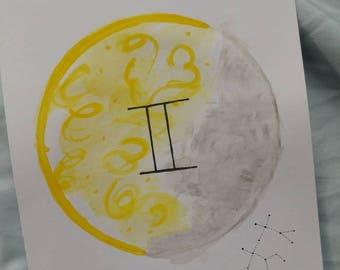 Zodiac Moon Watercolor Painting/Gemini Astrological Sign
