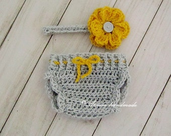 baby girl set, diaper cover and headband, crochet baby set, crochet diaper cover, baby girl diaper cover, crochet bloomer and headband